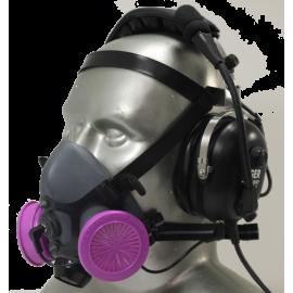 Tiger 5500 Headset Adjustable Half Respirator Filter Mask with Headband - P100 Filters & Communications