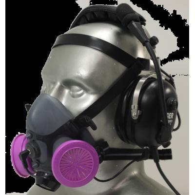 Tiger 5500 Headset Adjustable Half Respirator Filter Mask with Headband & Communications