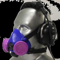 Tiger 8500 Headset Adjustable Half Respirator Filter Mask with Headband - P100 Filters & Communications