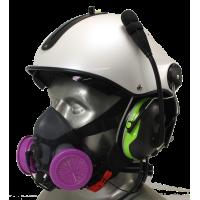 Tiger 5500 Helmet Mounted Headset Adjustable Half Respirator Filter Mask with Headband & Communications