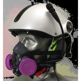 Tiger 5500 Helmet Mounted Headset Snap On Half Respirator Filter Mask - P100 Filters & Communications
