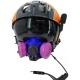 Honeywell RU8500 Half Respirator Filter Mask Kit with Adjustable Headband - Shown on MSA Gallet Helicopter Helmet