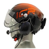 Icaro Solar X EMS/SAR Aviation Helmet with Tiger ANR Headset with 9V Helmet Mounted Battery Pouch