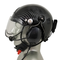 Icaro TZ EMS/SAR Aviation Helmet with Tiger ANR Headset with 9V Helmet Mounted Battery Pouch